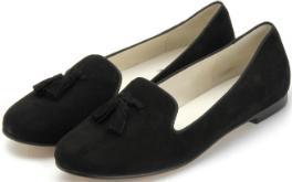 Bariello Milano Tassel-Loafer Nubukleder Zierschleife schwarz Übergröße 672-16
