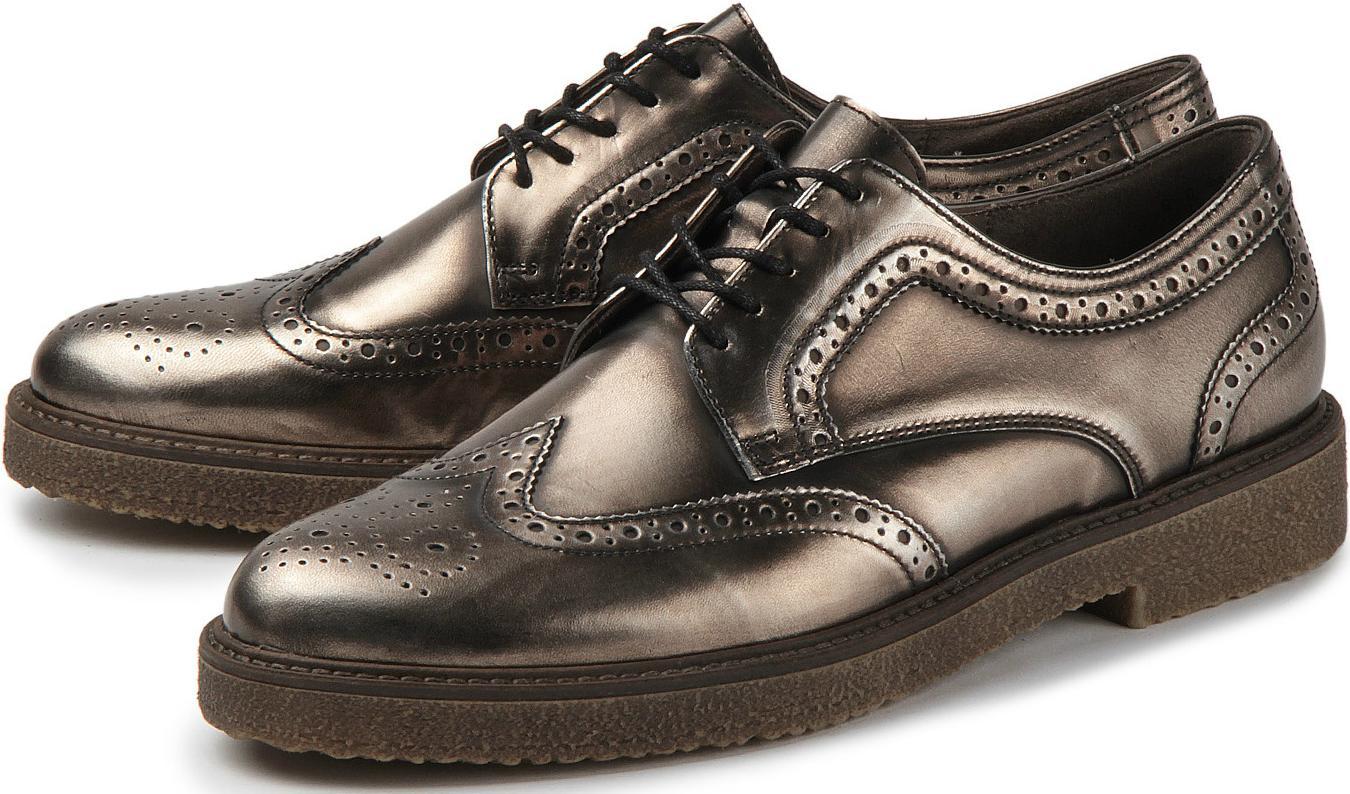 Gabor Schnürschuhe Brogueing Dandy-Look Leder metallisch glänzend Übergrößen ca993d024f
