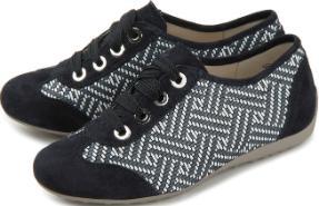 Semler G-Weite Sneaker Samt-Chevreau Flecht-Optik Untergröße 897-16