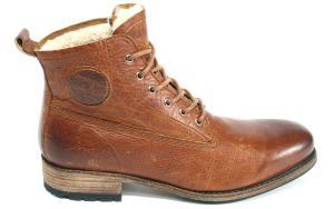 Blackstone Lammfell-Boots Two-Tone-Effekt hellbraun Übergröße 278-24