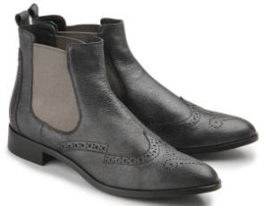 Rossaro Chelsea-Boot Stiefelette Lyralochung Leder grau Damenschuhe Übergröße 477-26