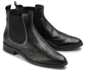 Rossaro Chelsea-Boot Stiefelette Lyralochung Leder schwarz Damenschuhe Übergröße 482-26