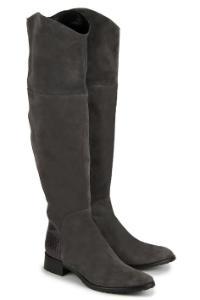 Rossaro Overknee Stiefel schmale Silhouette Nubukleder Grau Übergröße 415-26
