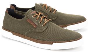 Camel Active Sneaker Canvas kontrastreiche Schnürung Olive Übergröße 7108-17