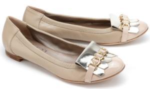 AGL Ballerina Beige Silber Übergröße 1550-17