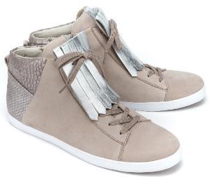 Gabor Hightop Sneaker Besatz mit Fransen Oberflaechenmix Beige Uebergroesse