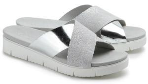 Gabor Pantolette Metallic-Look G-Weite Silber Grau Uebergroesse 3029-17