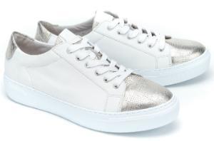Gabor Sneaker Metallic-Partien an Kappe und Ferse Weiss Uebergroesse 3039-17