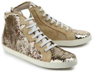 Hightop-Sneaker besetzt mit glaenzenden Pailletten Beige Gold Uebergroesse
