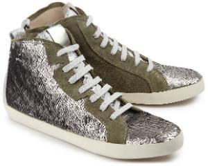 Hightop-Sneaker besetzt mit glaenzenden Pailletten Khaki Uebergroesse