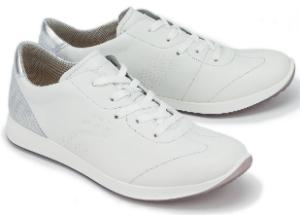 Legero Sneaker Leder mit Perforationen Detail in Metallic-Optik G-Weite Weiss Uebergroesse