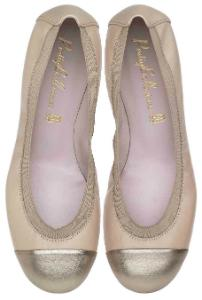 Pretty Ballerinas Nappaleder Kappe in Metallic-Optik Beige Uebergroesse