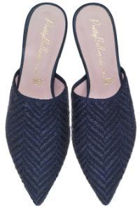 Pretty Ballerinas Pantoletten Textil Leder Blau Uebergroesse