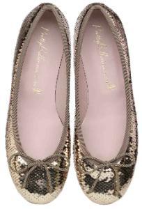 Pretty Ballerinas Textil Pailletten in Gold ungefuettert Uebergroesse