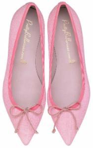 Pretty Ballerinas Textil schlanke Leisten Pink Uebergroesse