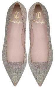 Pretty Loafers Pantoffelschnitt glitzernd Textil Gold- Silberfarben Uebergroesse