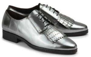 Schnuerschuhe Haferlasche metallisch schimmerndes Leder Silber Uebergroesse 2106-17