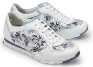 Semler Sneaker florales Muster mit Schuppenpraegung silberfarbene Metallicleder-Elemente H-Weite Weiss Untergroesse