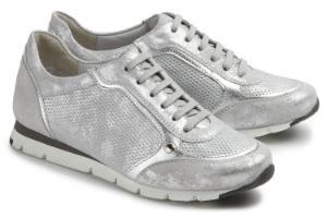 Semler Sneaker weisses Veloursleder mit Metallic-Finish Grau Silber G-Weite Untergroesse