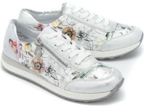 Sneaker Leder florales Muster Silber Untergroesse