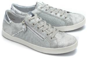 Sneaker aufregender Mix aus sportiven Elementen Grau Silber Uebergroesse