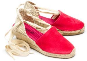 Espadrilles-Wedges Leder Keilabsatz aus Bast Schnuerung Pink Untergroesse