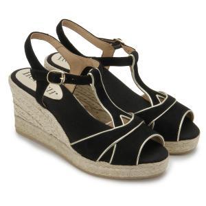 Espadrilles Wedges Sandale Veloursleder mit Seil bezogener Keilabsatz Schwarz Untergroesse