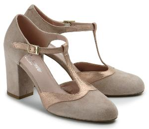 Pumps Easy-Chic Veloursleder Blockabsatz Nude Kupfer Untergroesse