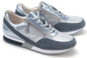 Blau Silber Gabor Sneaker aus metallisch beschichtetem Leder in Uebergroessen