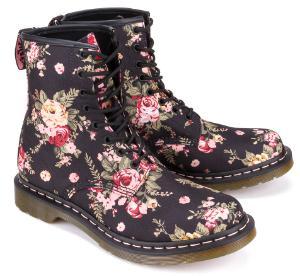 Dr Martens Boots Rosendekor Textil Schwarz Flowerprint Uebergroesse