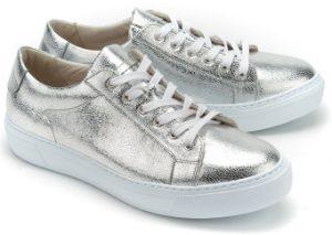 Gabor Sneaker metallisch beschichtetem Leder Silber Uebergroesse ... 92732c3bef