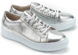 Gabor Sneaker metallisch beschichtetem Leder Silber Uebergroesse