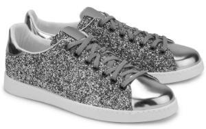 Glitter-Sneaker Metallic-Optik Textil Silber Uebergroesse