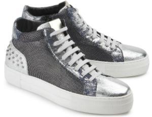 High Top Sneaker Retro-Design Silber Blau Plateau-Sohle Uebergroesse