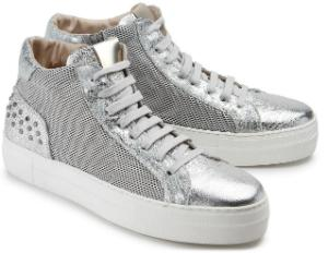 High Top Sneaker Retro-Design Silber Plateau-Sohle Uebergroesse