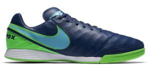 Nike TiempoX Mystic V IC Herren-Hallenfussballschuh Blau Gruen Uebergroesse