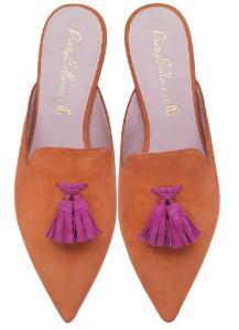 Sabots aus Nubukleder von Pretty Ballerinas in Uebergroessen Orange