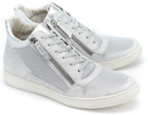 High Top Sneaker Retro Design Silber Plateau Sohle