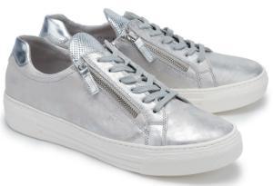 Silberne Gabor Sneaker aus metallisch beschichtetem Leder in Uebergroessen