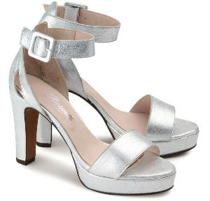 Uebergroessen Plateau-High-Heels Leder metallischer Schimmer Crack-Effekt Silber
