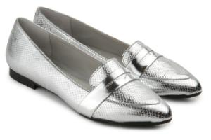 Uebergroessen Slipper Loafer Leder Metallic-Design Silber
