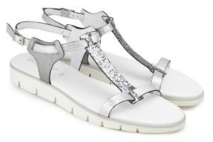 Untergroessen Keil-Sandalen Leder Sohle in Schichtoptik T-Steg in Glitzermaterial Silber
