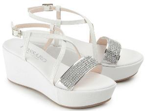 Untergroessen Wedges Sandalen Leder ueberzogener Keil Schmucksteine auf der Vorderseite Weiss Silber