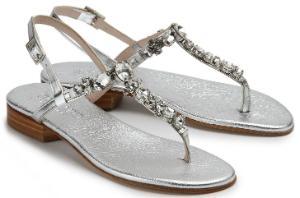 Untergroessen Zehentrenner Leder Metallic Stein- und Strassoptik Silber