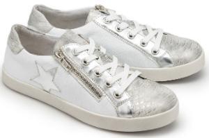 Weiss Silber Sneaker mit Stern und silberfarbener Vorderkappe in Untergroessen
