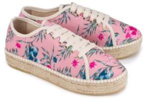 Espadrilles Sneaker aus Leinen Rose Uebergroesse