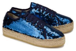 Espadrilles-Sneaker mit Pailletten besetzt Bast-Plateau-Absatz Blau Uebergroesse