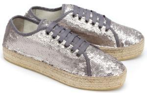 Espadrilles-Sneaker mit Pailletten besetzt Bast-Plateau-Absatz Silber Untergroesse