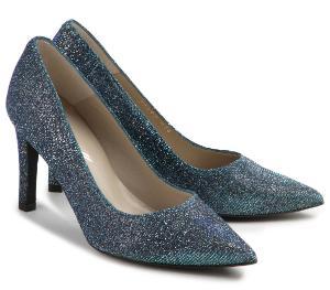 Glitter-Pumps mit spitz zulaufender Vorderkappe und schmalem Absatz im Metallic-Look Blau Glitzer Untergroesse