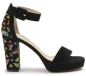 High Heels ausdrucksstarkes Muster extravaganten Absatz Schwarz 70 mm Uebergroesse
